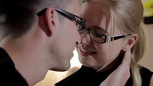 Studying and fucking with nerdy blond